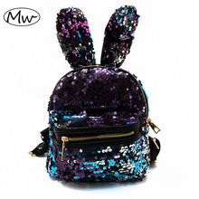 Moon Wood Newest Bling Sequins Backpack Cute Big Rabbit Ears Double Shoulder Bag Women Mini Backpack Children Girls Travel Bag(China)