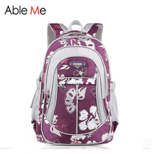 AbleMe New Floral Printing Children Backpack For Girls Mochila Children School Bags For Teenager Girls Book Bags Kids Schoolbag(China)