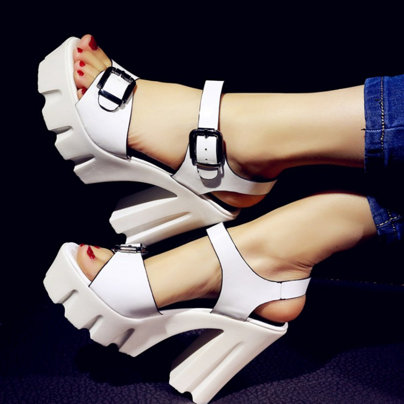 Open Toe Buckle Gold Sliver White PU Heavy Platform Thick High Heeled Sandals For Women 2016 Summer New Fashion Elegant Shoes<br><br>Aliexpress
