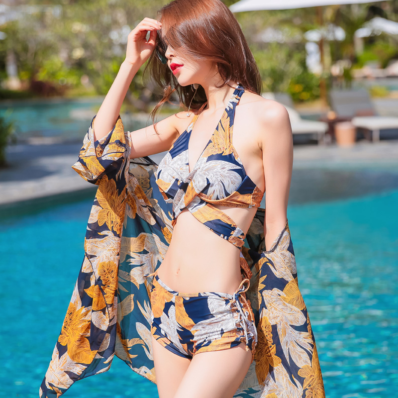 M-3XL 2018 Sexy hot new Push Up bikini swimwear Green leaves print cover-ups three pieces swimsuit beach women bathing suits<br>
