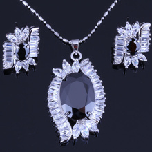 Excellent Black Imitation Onyx & Cubic Zirconia Silver Color Jewelry for Women Sets Free Gift Bag H0070