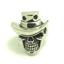 316L Stainless Steel Cool Silver Cow Boy Skull Ring