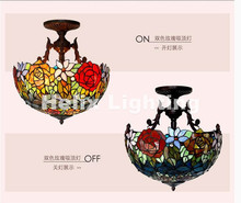 Free Shipping Tiffany Novelty Rose Pendant Child Bedroom Pendant Lamps for Balcony Home Decoration AC E27 Home Decorative Lamp
