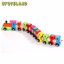 UTOYSLAND Wooden Digital Color Blocks Assembled Car Pull Along Educational Toys 1-10 Arabic Numerals(China)