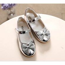 2016 New Style Kids Sneaker baby Children Shoes Patent Leather Girls Flat pricness Shoes bow PU Leather dancing Size 21-36(China)