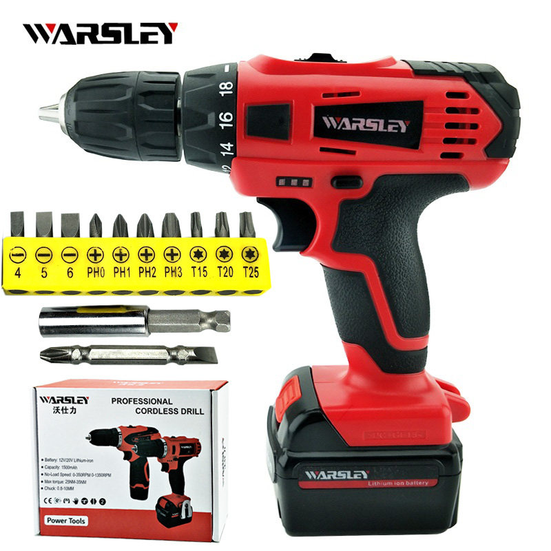 21V Electric Screw Driver Cordless Mini Rechargeable Two-speed Electronic Drill Lithium-Ion Battery Power Tools<br>