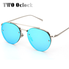 TWO Oclock Female Colorful Mirror Round Sunglasses Women Men Metal Sun Glasses Anti UV / Ray Shades Blue Yellow Oculos 5303