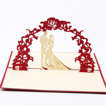 10pcs Sweety wedding invitation 3D laser cut paper cutting Greeting Pop Up Card Custom postcards Wishes Gifts for lover 1009