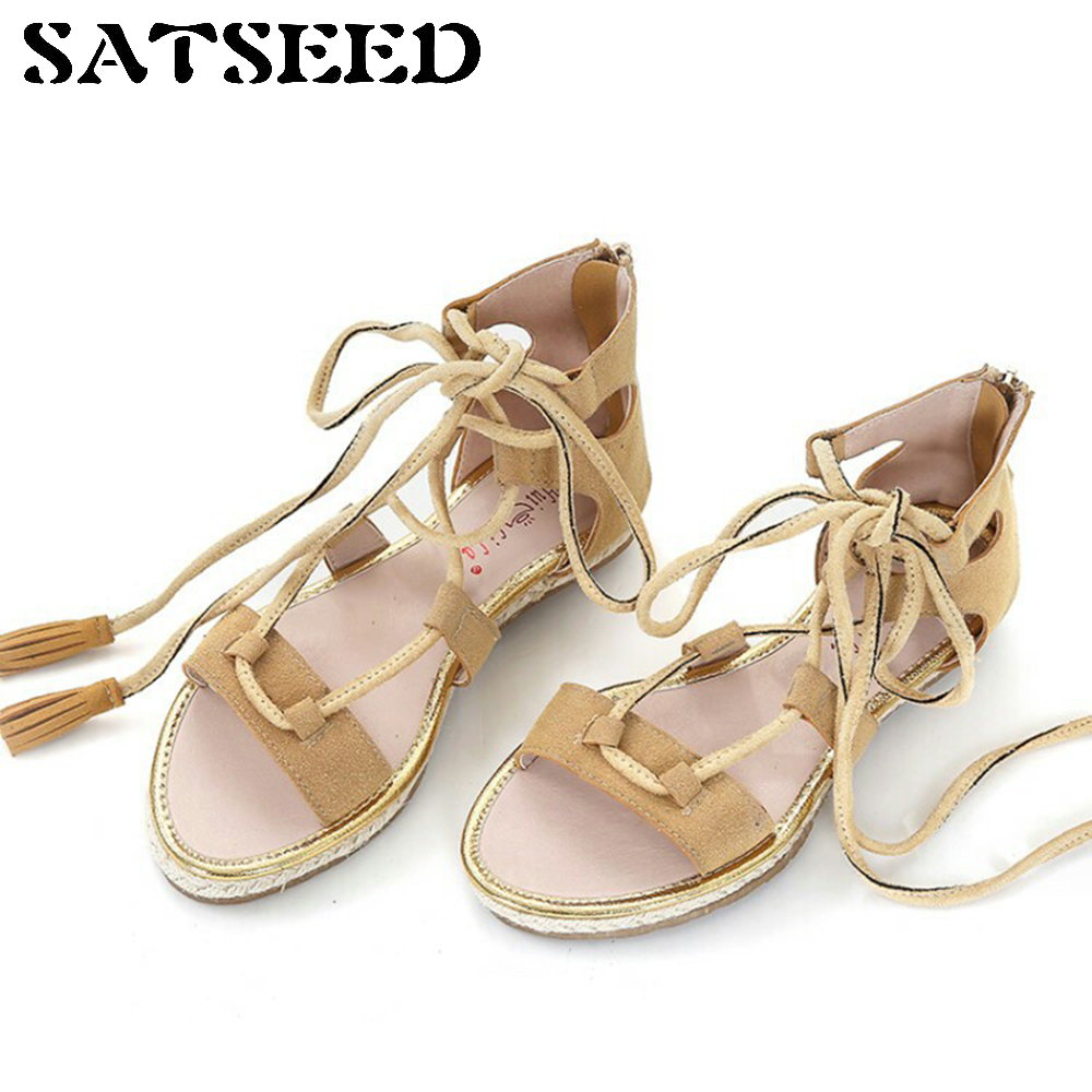 New Summer Tassel Sandals Ankle Strap Straw Rope Tie Rome Women Shoes Flat Size Shoes Fashion Casual<br>