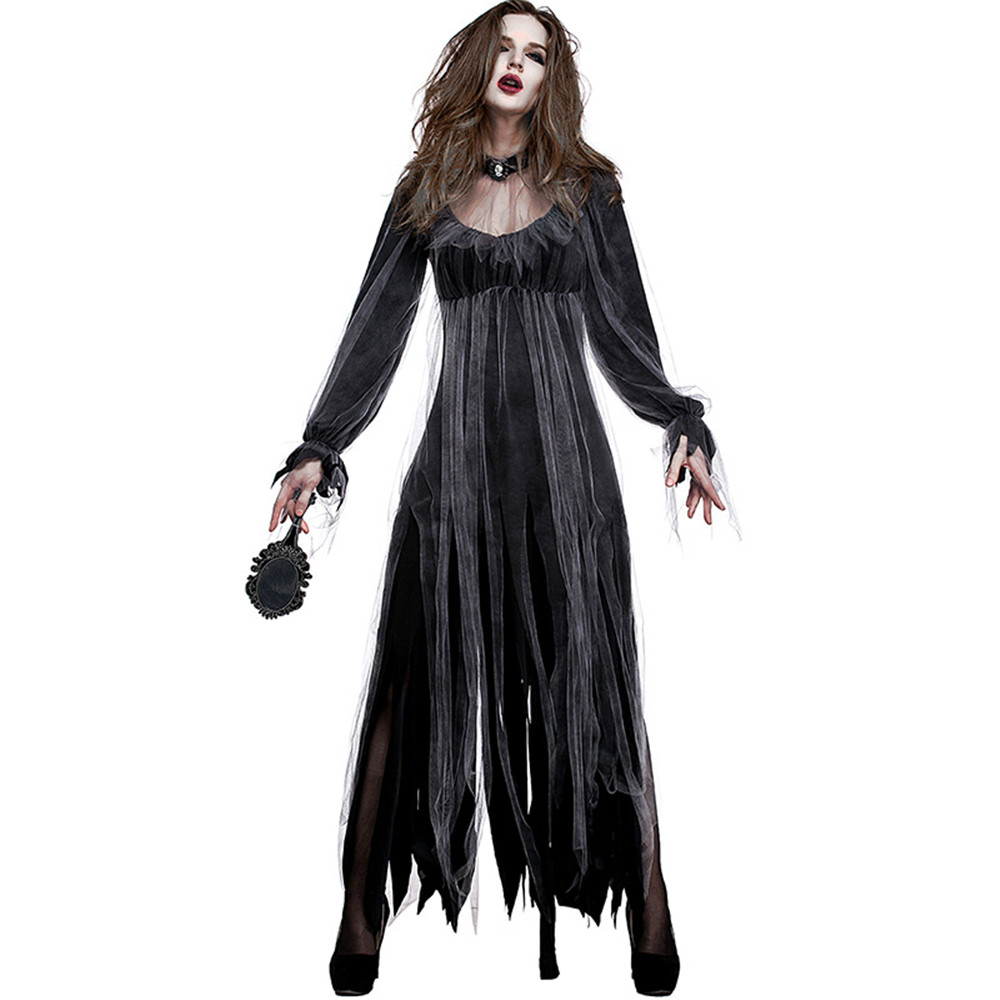 Halloween new horror ghost bride zombie costume vampire long skirt black dress witch show cosplay costume adult women