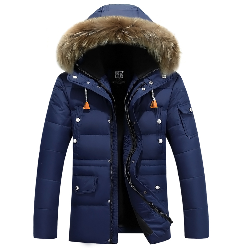 2017 New Arrival Men's Duck Down Jacket Mens Winter Coat Men Horn Button Big Natural Fur Collar With Hooded Coat(China)