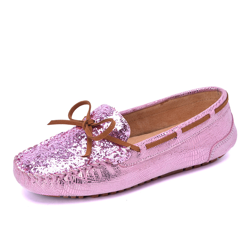 Casual Style Women Flats Leisure Beautifully Print Pattern Genuine Leather Women Shoes Driving Loafers Moccasins<br>
