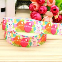 7/8'' Free shipping easter printed grosgrain ribbon headwear hair bow diy party decoration wholesale OEM 22mm B1276