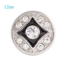 12MM Round snap Silver Plated with clear rhinestones and Enamel  snaps jewelry KS6051-S