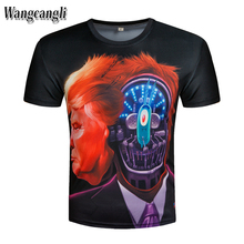 Wangcangli 2017 summer mask head tide male T shirt short sleeve pattern print 3d short sleeve t-shirt