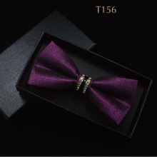 Jacquard Floral Bow Tie Cashew Flowers Rose Butterfly Knot Metal Buckle Crystal Cravats Men Women Grooms Banquet Wedding Meeting(China)