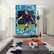 Free Shipping Football superstar messi wallpaper 3D sports theme wallpaper sports equipment shop European Cup wallpaper mural