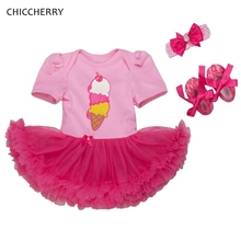 Icecream Print Baby Girl Birthday Outfits 3pcs Toddler Lace Romper Headband Shoes Set Vestido Bebe Menina Wedding Tutu Dress