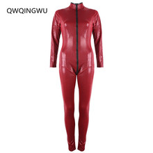 Buy Jumpsuits Sexy Women Faux Leather Romper Latex Catsuit Zipper Costume Party Sexy Dance Clubwear Fetish Costume Jumpsuit Bodysuit