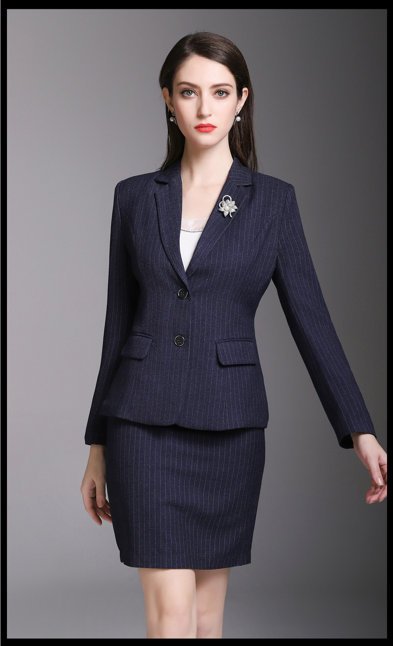 Pretty Navy Stripe Girlfriend Suits Women's Skirt Suits Girl Work Suits Office Lady Suits Custom Made 2 Piece Jacket/Skirt