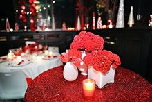 LQIAO 10pcs120-Inch Red Round Sequin Tablecloth for Wedding Party Cake Dessert Table Exhibition Events Decoration Table Cloth(China)
