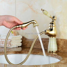 Basin Flexible Pull Out Faucet Golden Polish Marble Stone Luxury Kitchen Sink Mixer Faucet Bathroom Gold Faucets ZR490