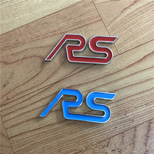 1X Metal Styling Red Blue RS Chrome Car Emblem Badge Auto Decal 3D Sticker Emblem for Ford Focus ST Mondeo