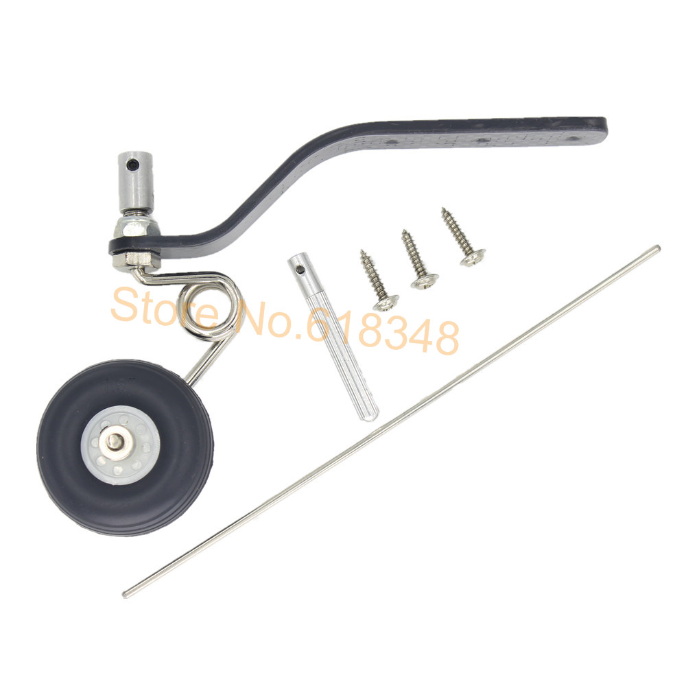 "10 Sets 50cc Great Plane Landing Gear Carbon Tail Wheel Assembly 1.5"" Rubber Tire Kit RC Airplane Replacement Parts"
