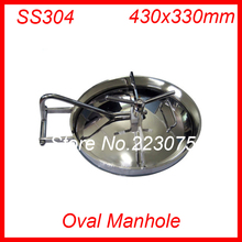 430x330mm SS304 Stainless Steel Oval Manhole Cover Manway tank door way(China)