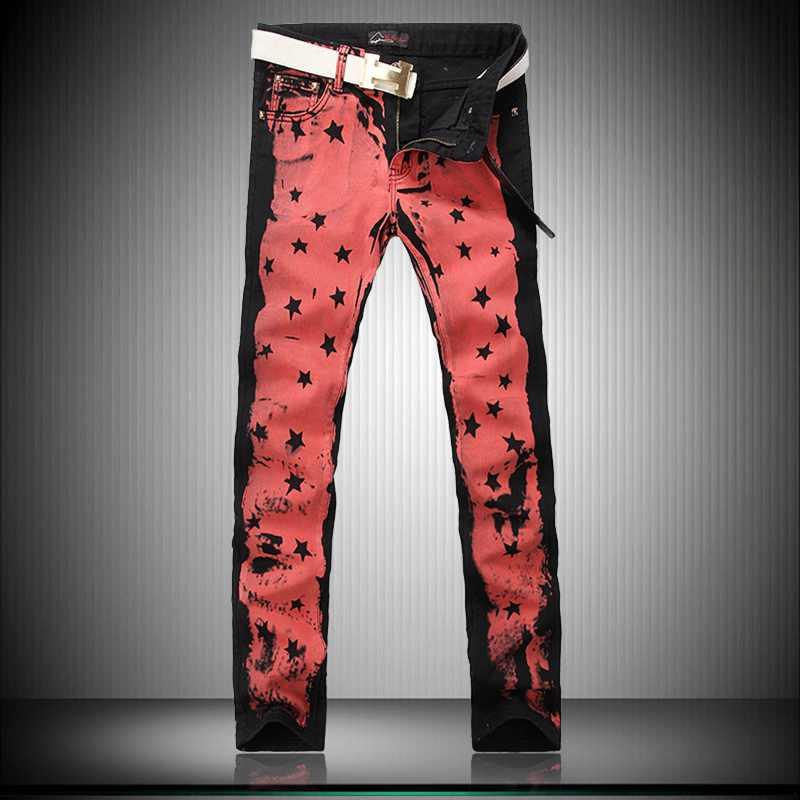 - Personalized Five-Pointed Star Color Printing Boutique Jeans American Style Fashion Trend Nightclub Red Straight Jeans For MenÎäåæäà è àêñåññóàðû<br><br>