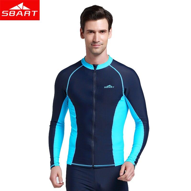 SBART summer Long Sleeve sunscreen Swim Rash Guard Shirts UPF50 Anti-UV Rashguard Top With Zipper Men Women snorkeling suits<br>