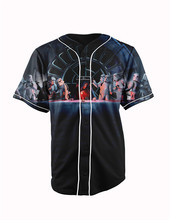 Real American Size  star darkside  3D Sublimation Print Custom made Button up baseball jersey plus size