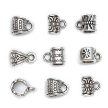 Wholesale 50 Pcs/lot Antique Silver Pattern Beads Tibetan Silver Big Hole Charm for European Beads Connectors H0463