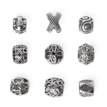 Fashion 10pcs/lot Silver Plated Barrel Beads X Shaped Cross Big Hole Metal Beads Charms for DIY European Bracelet Jewelry Crafts