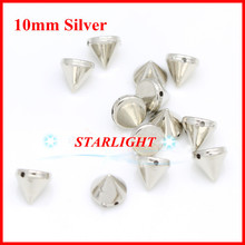 500pcs/pack ABS Silver Plastic Spikes Studs Rivets hand Sewing on glue on 10mm Beads For DIY Clothing Clothes accessories