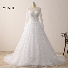 Romantic Wedding Dress Ball Gown Lace Long Sleeve Charming 2017 Long Simple Wedding Dress x121612