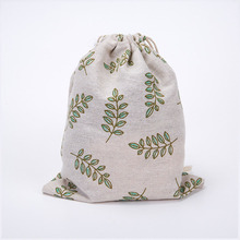 New Brand Girls Shoes Bags Women Cotton Canvas Shoulder Bags Drawstring Leaf Printing Clothes Storage Bags(China)