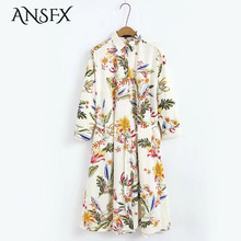 ANSFX Fashion Women Floral Print Pleated Autumn Turn-down Collar Single Breasted Long Sleeve Sashes Dress Casual Brand Vestidos