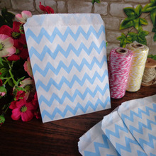 Icraft 25 pcs Zigzag Chevron Blue Paper Bags 5X7 inch Wedding Birthday Party Favor Candy Loot Bag Food Packaging(China)