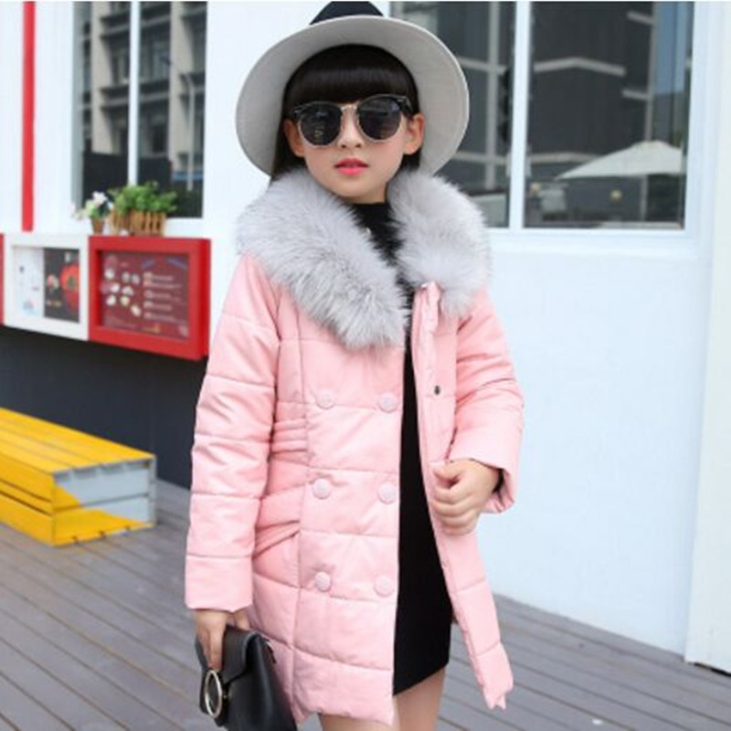 Girls Winter Coat PU leather Jacket 2017 Fashion Fur Collar Long Sleeve Thick Winter Outerwear Medium-Long Child Cotton-PaddedÎäåæäà è àêñåññóàðû<br><br>