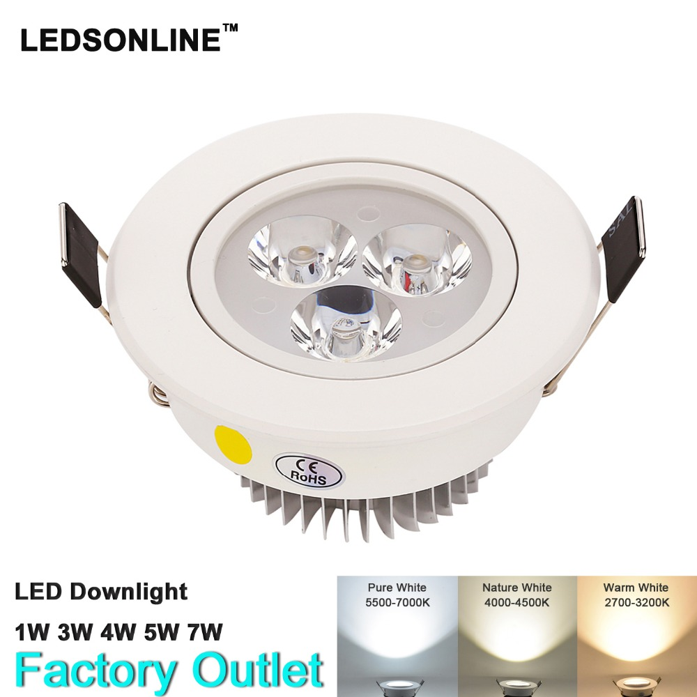 1pcs Dimmable LED Recessed Downlight 1W 3W 5W 7W 90-770lm Cut hole size 40-95mm 1.55-3.7 inch Warm Nature Pure White Spot lights(China)