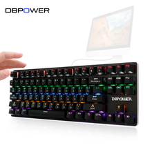 DBPOWER Russian/English Mechanical Keyboard 87 Keys LED Backlit with Blue Switch Game Keyboard for PC Flash Memory Game Teclado(China)