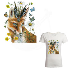 Hot Europe fashion butterfly fox Iron on patch stickers Diy T-shirt Sweater thermal transfer paper Patch for clothing(China)