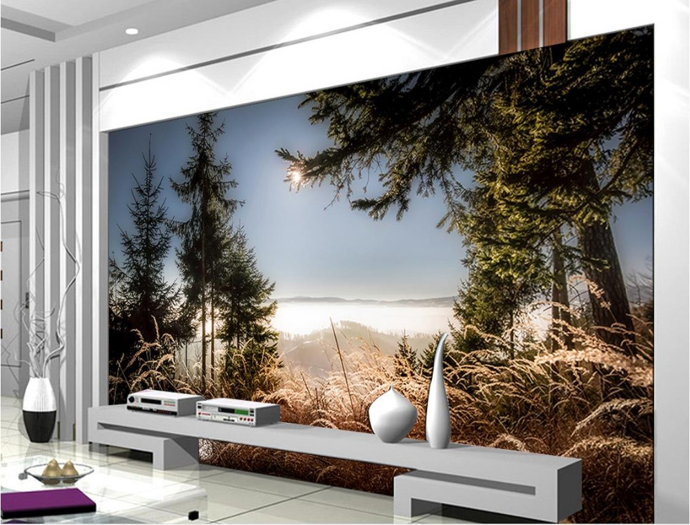 Custom 3d wallpapers for living room Sunset beautiful natural scenery background wall 3d stereoscopic wall paper rolls<br>