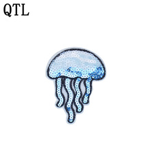 5PCS Sequined Jellyfish Patches for Clothing Iron on Transfer Patches Sequin Applique for Clothes Shoes Sew on Embroidery Badge(China)
