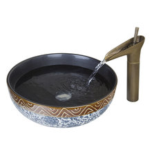 Art Antique Bathroom Sink Set,Round Ceramic Vessel Sink With Waterfall Faucet 460196104
