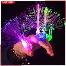 Traceable Shipping Peacock / Robot LED Fiber Finger Beaming Light Ring Funny Toy For Kid In Holiday Party Preps In Random Color(China)