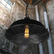 Nordic retro industrial style chain pendant lights,Dia 36/46cm Vintage metal cage pendant lamp warehouse light fixture with bulb