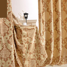 Customized curtain Classic European high-grade flowers of Damascus  Double jacquard thickening living room curtains E082