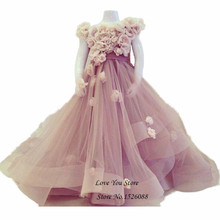 Child Flower Girl Dresses for Weddings Princess Birthday Dress for Toddlers 2016 Little Girls Evening Gowns Kids Prom Dresses(China)